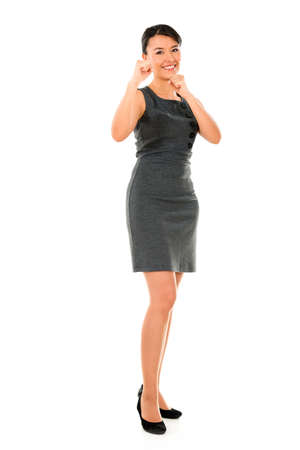 competitive business: Competitive business woman - isolated over a white background Stock Photo