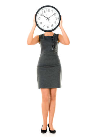 Female human clock - isolated over a white background Stock Photo - 22036768