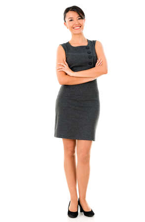 business woman standing: Successful business woman - isolated over a white background Stock Photo