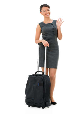 Successful business woman travelling - isolated over white background Stock Photo - 22088805