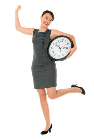 Excited business woman on time with a clock - isolated over white Stock Photo - 22143996