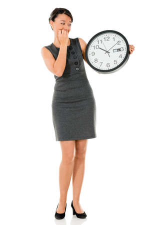 Business woman worried about time and running late - isolated over white Stock Photo - 22143997