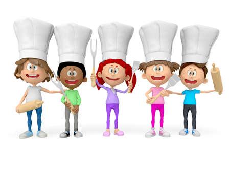 mujeres cocinando: Grupo 3D de los cocineros - aislado sobre fondo blanco