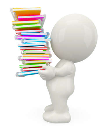 schoolwork: 3D student carrying a bunch of books - isolated over white background