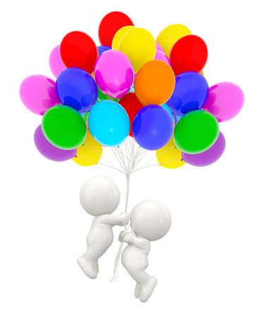 3D-Paar hält Heliumballons - über weißem Hintergrund
