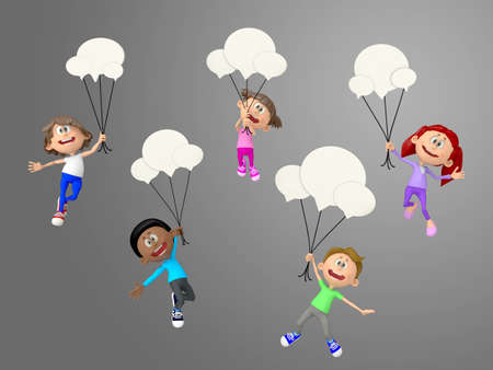 3D talkative kids hanging from chat bubbles photo