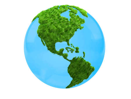 3D world map in grass focus on America - isolated over a white background photo