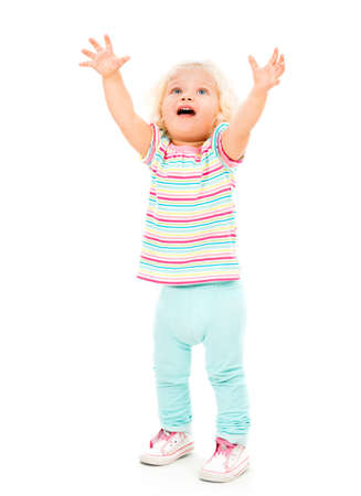 wanting: Crying little girl with arms up - isolated over a white background