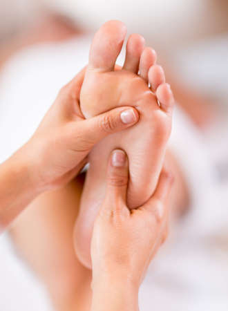 podiatry: Close up of a foot massage at the spa