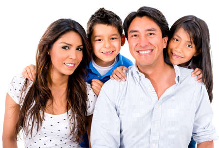 Happy Latin family smiling - isolated over a white background photo