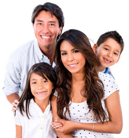 Schöne Familie Porträt lächelnd - isoliert über weißem Hintergrund