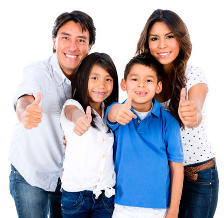 hispanic children: Happy family portrait with thumbs up - isolated over white background