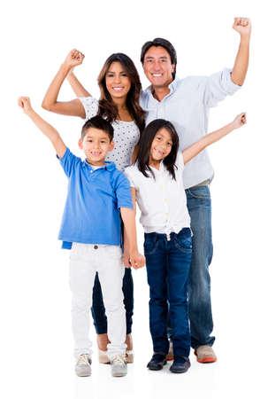 Familie mit Waffen suchen sehr glücklich - über einen weißen Hintergrund isoliert