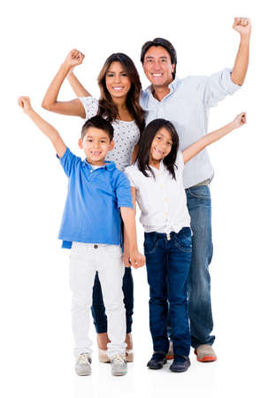 animated women: Family with arms up looking very happy - isolated over a white background Stock Photo