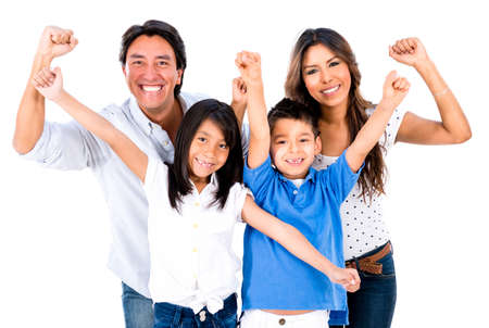 latin woman: Family with arms up looking very happy - isolated over a white background Stock Photo