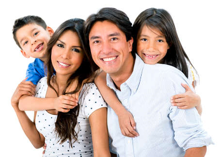 latinos: Happy family portrait smiling together - isolated over white background