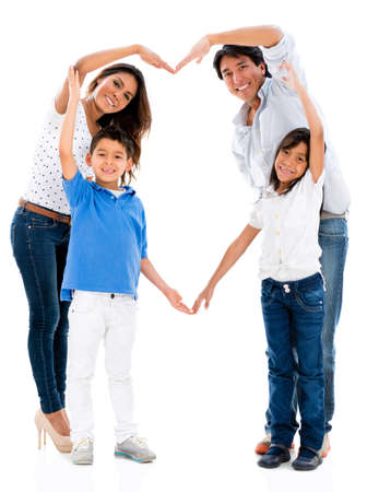 parents  love: Loving family making a heart shape - isolated over white background