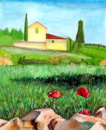 suitable: Watercolor landscape. Suitable for wine labels. Hand drawn illustration.