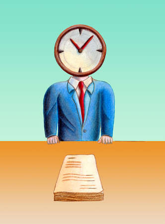 intimidating: Business man with his head replaced by a clock. Documents on table. Hand drawn illustration. Stock Photo