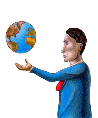 imperialism: Bussiness man with the world floating over his hand. Hand drawn illustration.