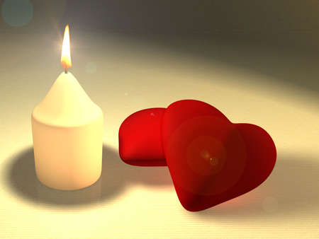 intimate: A candle illuminating two soft red hearts. CG illustration.
