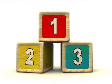 three objects: Numbers on wooden cubes Stock Photo