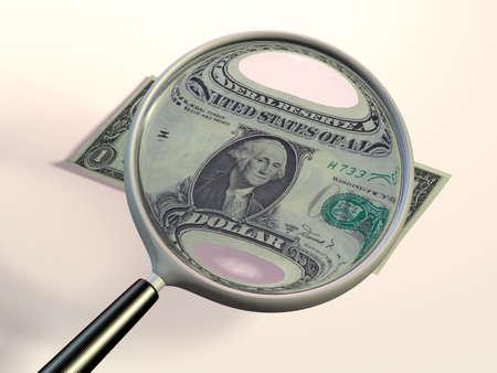 Un projet de loi en vertu d'un dollar loupe. CG illustration.