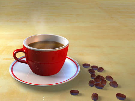 mocca: A cup of coffee and coffee beans. CG illustration. Stock Photo