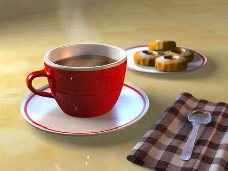 mocca: A cup of coffee and some biscuits on a table. CG illustration.