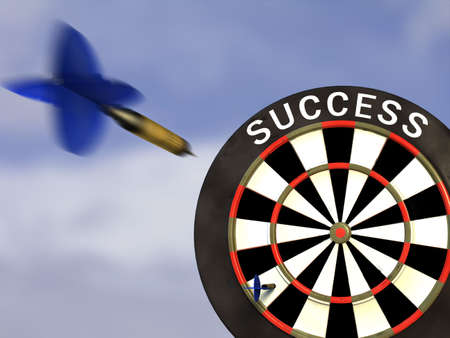 company board: A dart flying toward a success board. CG illustration. Stock Photo