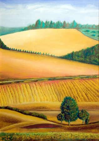 Pittoresque des terres agricoles en Toscane, Italie. Illustration peinte à la main.