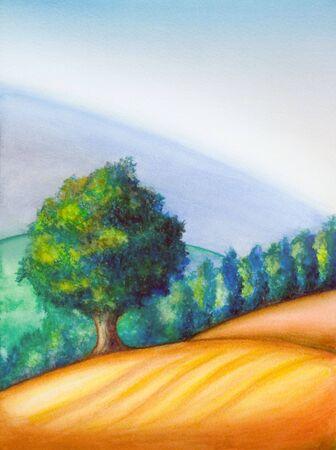 Farmland in Tuscany, Italy. Hand painted illustration.