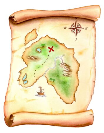 Old map showing a treasure island. Hand painted illustration.