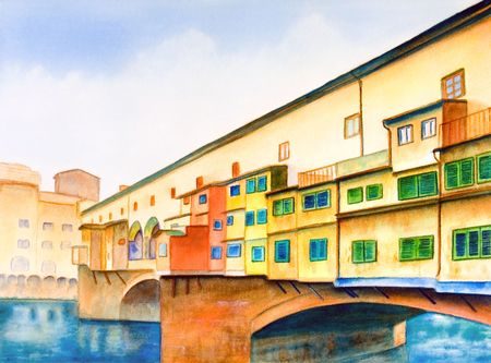 Ponte vecchio (the old bridge) in Florence, Italy. Hand painted illustration.