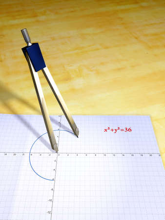 Drawing a circle equation. Digital illustration. Stock Illustration - 830527