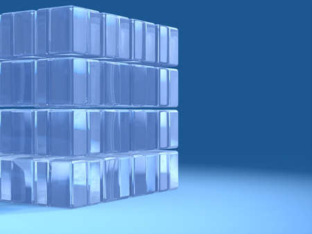 A transparent glass cube over a blue background. Text space on the right. Digital illustration. illustration