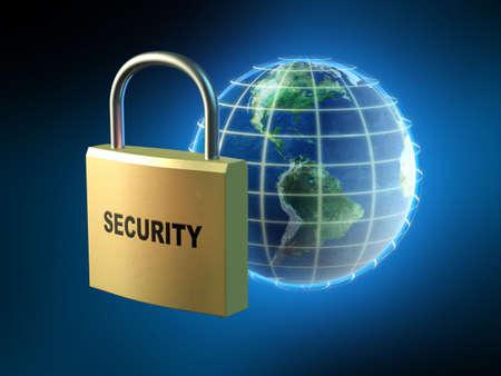 Protecting data streams around the world. Digital illustration. Stock Illustration - 830518