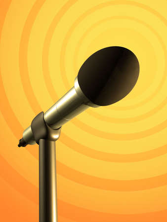 Microphone on a yellow and orange background. Digital illustration.
