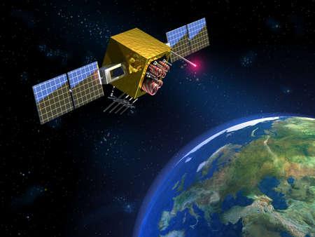 Communication satellite and planet earth. CG illustration Stock Illustration - 830507
