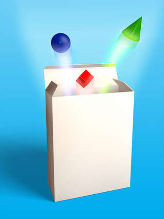 Basic geometrical shapes flying out of an open box. Digital illustration.