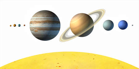Planets from our solar system. White background. Digital illustration. illustration