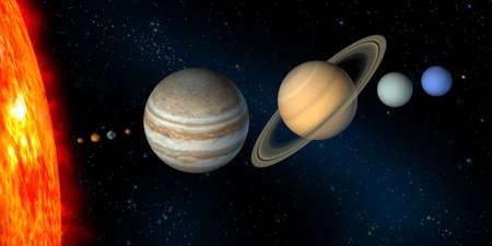 Planètes de notre système solaire. Digital illustration.