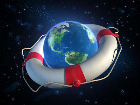 Planet Earth and a lifesaver in space. CG illustration. illustration