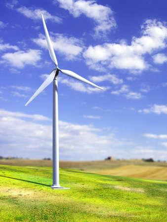Alternative energy sources. Wind turbines in a grass field. Digital illustration. illustration