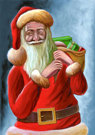 Santa Claus christmas card. Hand painted illustration. illustration