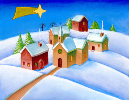 A small village in a snowy landscape. Christmas star visible in the sky. Hand painted illustration.