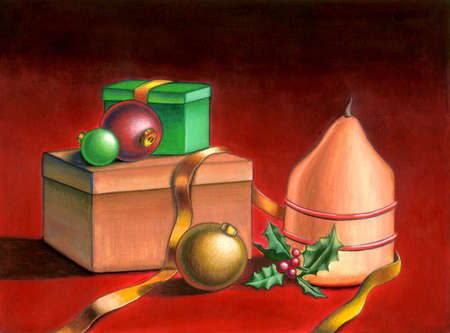 Christmas objects on a red table. Hand painted illustration. illustration