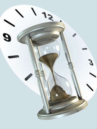 Metal hourglass and clock background. Digital illustration. Reklamní fotografie