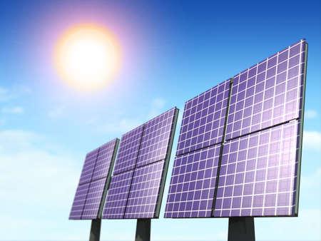 Alternative energy sources. Solar panels. Digital illustration.