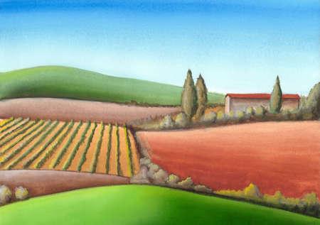 Summer farmland in Tuscany, Italy. Hand painted illustration. Reklamní fotografie